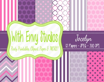 50% OFF Pink and Purple Digital Paper - Pink and Purple Scrapbook Paper - Commercial Use