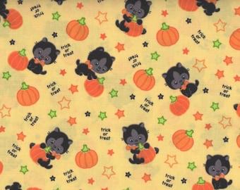 Cats, Halloween Fabric, Black Cat Fabric, Pumpkin Fabric, Yellow Fabric, 1 Yard Fabric