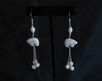 White Howlite Zuni Bear Fetish Earrings with Sterling Silver Chain and Ear Wires