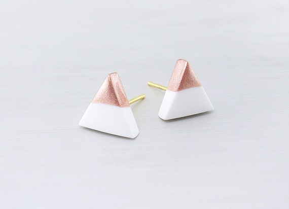 White - Rose Gold Dipped Triangle Stud Earrings