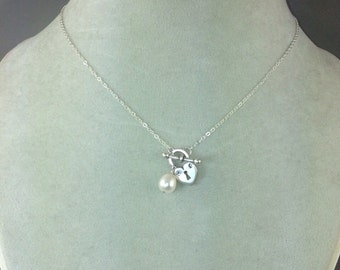 "20"" Sterling Heart Locket with Pearl Necklace"