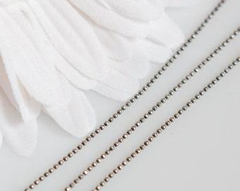 ChAS007 - 1mm Diamond Cut Ball Chain - Antique Silver Plated 5 Feet