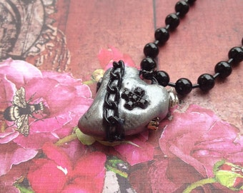 Steampunk  Silver and Black Heart Pendant Necklace