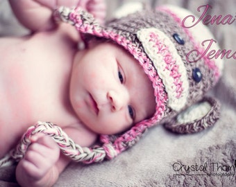 Girl Sock Monkey Hat