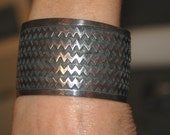 Beautiful Wide Vintage Heavy Sterling Indian Blanket Zig Zag Design Bracelet From Mexico Hallmarked 69 Grams