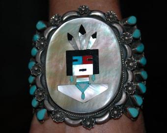Outstanding Huge Museum quality Vintage Zuni Kachina Turquoise Bracelet - 122 Grams Hallmarked
