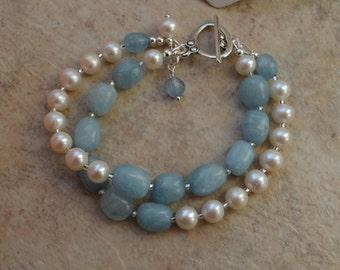 Chunky Aquamarine and Freshwater Pearl Two Strand Bracelet