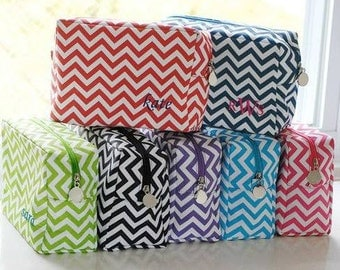Chevron cosmetic bag in multiple colors monogrammed