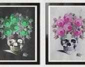SKULLS SET Gypsy Roses Opposites Black White Slate Chalkboard Grunge Girly Art Print Poster Antique Anatomy Skull Floral Rock A3, 13x19