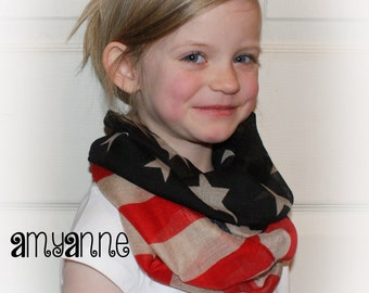 CLOSEOUT SALE Girls Toddler Kids Vintage American Flag Military Olympics 4th of July USA flags Scarf Infinity Scarves