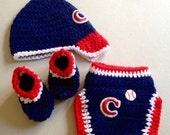 Baby Cleveland Indians Crochet Set Baseball Cap Booties Diaper Cover