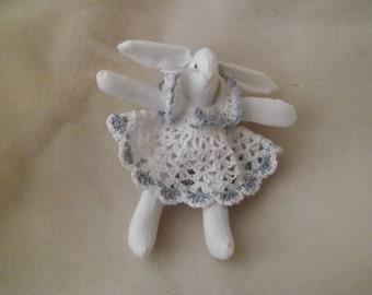 Vintage Muslin Rabbit With Crochet Dress Stuffed Animal Easter Bunny Decoration Vintage Magnet