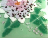 Art Deco Inspired Dahlia Art Tile - Fused Glass Backsplash Tiles - Green, Pink, Lavender