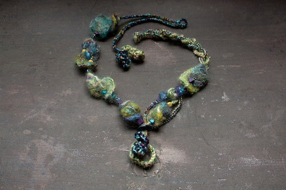 Crochet and felt necklace with wooden beads, blue yellow purple eco friendly jewelry, OOAK