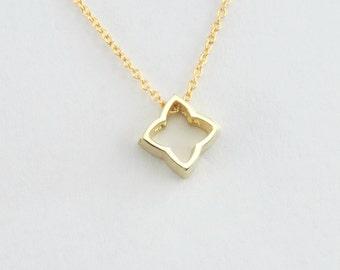 Geometric Quatrefoil Pendant in Solid 14K Gold Minimalist Openwork