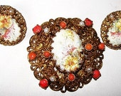 Vintage Brooch Earring Set W Germany Coral & Pearl Beads Flower Design Filigree Gold Metal 1950s