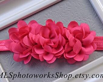 Raspberry Pink Baby Girl Headband - Triple Flower Toddler Hair Bow in Bright Summer Pink
