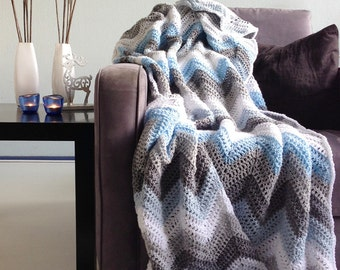Blue grey sparkle winter - afghan crochet chevron blanket -> made to order