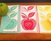 Hand Printed Apple Linocut cards -- set of 6
