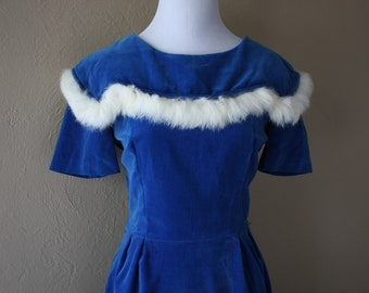 Vintage Blue Velvet Wriggle Dress with Fur trim xx
