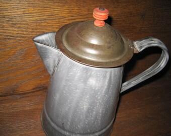 Vintage Gray/Grey Graniteware Coffee Pot
