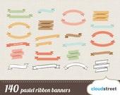 Buy 2 get 1 free 140 pastel ribbon banners clipart ( vector digital ribbons clip art in pastel )