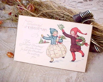 Darling Edwardian Era Christmas Postcard-Children with Wreath and Gift