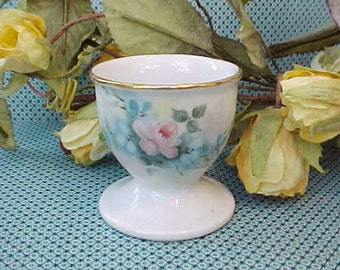 Charming and Dainty Little Hand Painted Bavarian Porcelain Egg Cup-Pink Rose-Artist Signed