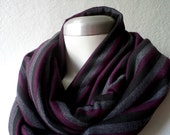 Circle scarf. Unisex Striped Infinity scarf, in black, slate grey and plum jersey knit, light and cozy,EXTRA WIDE.