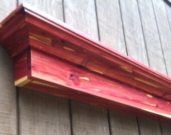 Aromatic Cedar wall shelf ledge - Red cedar fireplace mantel shelf