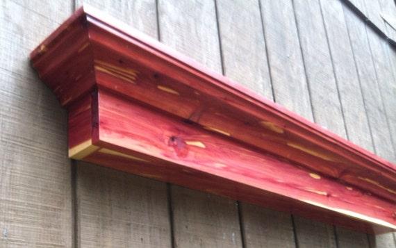 Aromatic Cedar wall shelf ledge - Red cedar fireplace mantel shelf