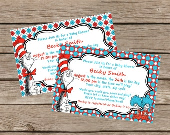 Cat in the Hat Baby Shower Invitation: Printable 4x6 or 5x7