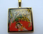 Resin Pendant, Hawaii, Red, Yellow, Black, White, Tropical, 1 Inch, Square
