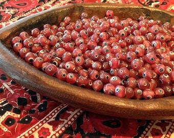 30 Watermelon Red Glass Evil Eye Beads