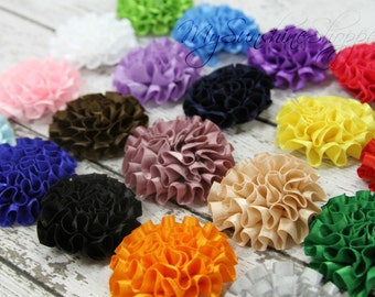 Small Ribbon Puff Flowers - set of 6 you choose colors