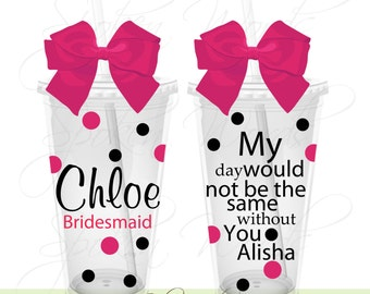 Bridesmaid Bridal Wedding Party Gifts Personalized 16 oz. Acrylic Tumblers