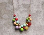Wooden bead necklace, boho bib necklace, gypsy, lilac, red, lime, peach, mint, aqua, bright pastels, vintage colours, woven.