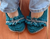 Teal and grey bows and ruffles slippers, crochet slippers, womens slippers, blue slippers, booties, shoes, crochet socks, crochet fashion