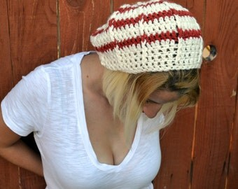 Winter rose, crochet slouchy cloche hat, tam, boho,beanie