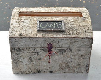 Birch Covered Wedding Card Box with Slot, Latch & Skeleton Key - Bride and Groom Advise Well Wishes Box  - Woodland - Rustic Barn Wedding