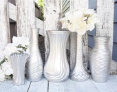 Silver SHABBY Vase - Shabby Chic Painted Glass Vases, Set of 5 in Metallic Silver