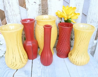 Shabby Chic Painted Glass Vases, Set of 6 in Marigold Yellow and Country Red