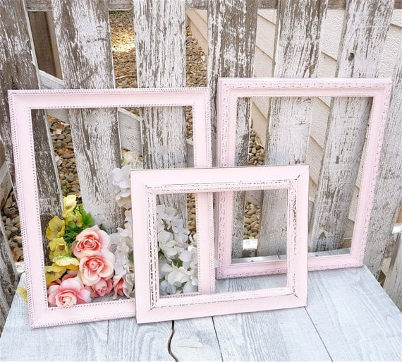 Baby Pink Frames - Set of 3 Large Painted Shabby Chic Frames, Soft ...