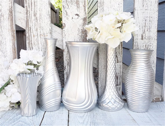 silver shabby vase shabby chic painted glass by. Black Bedroom Furniture Sets. Home Design Ideas