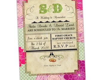Pink Floral Poster Vintage Wedding Invitation - Customizable  - invitations print printable card cards invite custom
