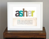 Personalized Art Print with Meaning of Name - classic nursery decor, green and brown, new mom gift - 8 x 10, 11 x 14 also available