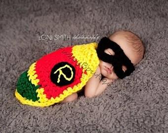 Robin Sidekick Mask & Cape - Crochet Baby Newborn Nb Beanie Cap 0-3 months Costume Halloween  Winter Outfit