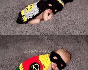 Dynamic Duo Batman & Robin Hat, Mask Cape Twin Set - Baby Newborn Beanie Cap 0-3 months Halloween  Winter Outfit