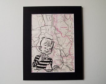 "Map Print - Little Boy on Mount Kosciusko, Australia Map - 8 x 10"""