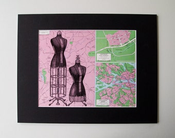Dressmakers Mannequin Mounted Print on Vintage Map of Malaysia, Australia, and Stockholm